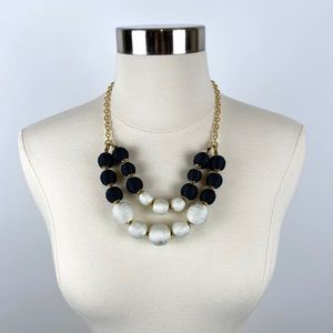 Talbots B&W Thread-Wrapped Sphere Necklace